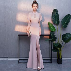 Elegant Blushing Pink Evening Dresses  2019 Trumpet / Mermaid High Neck Rhinestone Short Sleeve Split Front Floor-Length / Long Formal Dresses