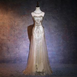 Chic / Belle 2017 Champagne Robe De Soirée Chiffon Dos Nu Paillettes Princesse de retour Soirée Robe De Ceremonie