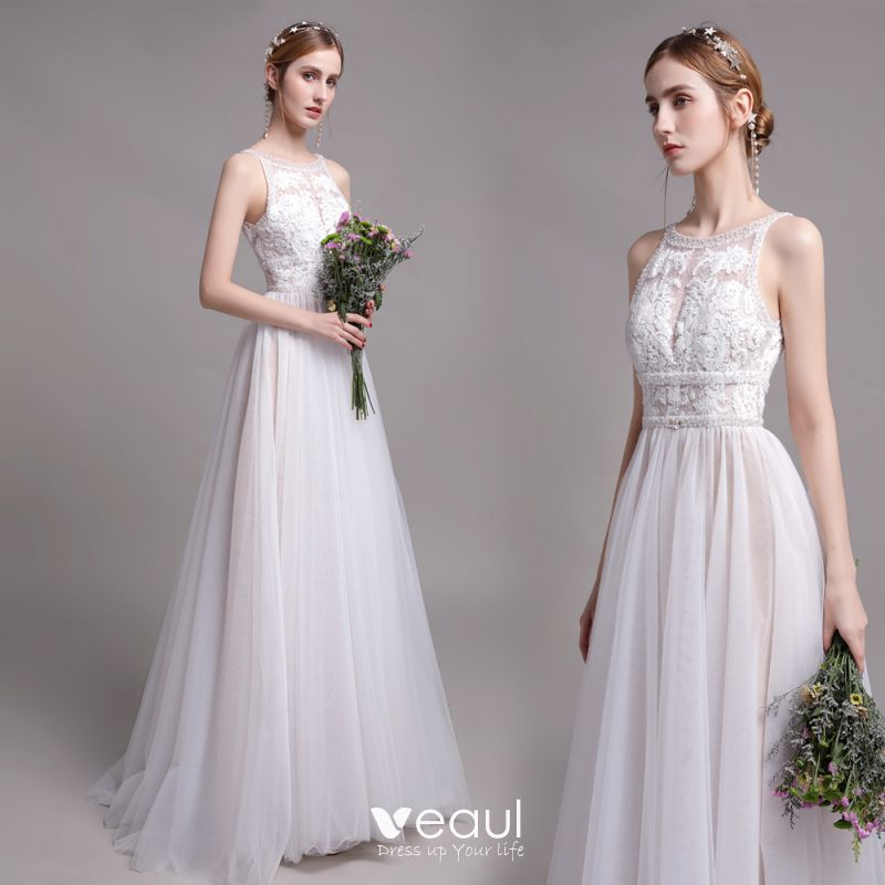 Modest Simple Champagne Beach Wedding Dresses 2019 A Line Princess Scoop Neck Pearl Lace Flower Sleeveless Backless Floor Length Long