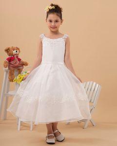 Satin Yarn Ankle-Length Appliques Flower Girl Dresses