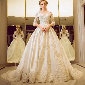 Vintage / Retro Church Wedding Dresses 2017 Lace Flower Crystal Rhinestone Scoop Neck Backless 1/2 Sleeves Ivory Ball Gown Cathedral Train