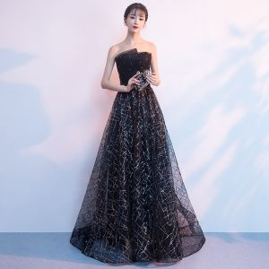 Bling Bling Black Evening Dresses  2018 A-Line / Princess Strapless Sleeveless Glitter Sequins Rhinestone Sweep Train Ruffle Backless Formal Dresses