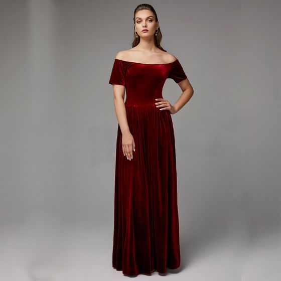 Modest / Simple Burgundy Mother Of The Bride Dresses 2020 Floor-Length / Long Short Sleeve Backless Off-The-Shoulder Wedding Evening Party A-Line / Princess Wedding Party Dresses