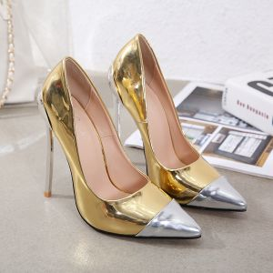 Schöne Gold Cocktail Pumps 2020 12 cm Stilettos Spitzschuh Pumps