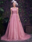 Glamour Encolure Perles Paillettes Robe De Bal En Organza