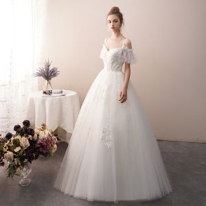 Charming Ivory Wedding Dresses 2019 A-Line / Princess Spaghetti Straps Beading Lace Flower Short Sleeve Backless Floor-Length / Long