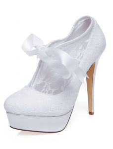 Classic Lace Wedding Shoes Stiletto Heels With Platform White High Heels Bridal Shoes