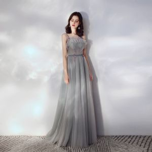 Elegant Grey Evening Dresses  2019 A-Line / Princess Ruffle Scoop Neck Beading Lace Flower Sleeveless Backless Floor-Length / Long Formal Dresses