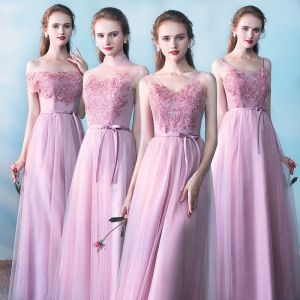 Chic / Beautiful Bridesmaid Dresses 2017 A-Line / Princess Lace Flower Bow Backless Ankle Length Bridesmaid Wedding Party Dresses