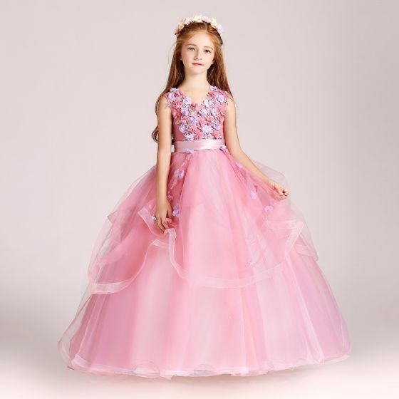 Chic / Beautiful Candy Pink Flower Girl Dresses 2017 Ball Gown V-Neck Sleeveless Appliques Flower Sash Floor-Length / Long Cascading Ruffles Wedding Party Dresses