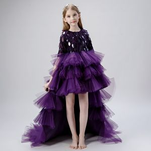 High Low Grape Flower Girl Dresses 2019 Ball Gown Scoop Neck 1/2 Sleeves Tassel Sequins Asymmetrical Cascading Ruffles Wedding Party Dresses