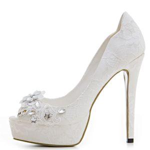 Encantador Marfil Zapatos de novia 2020 Rhinestone Con Encaje Flor 12 cm Stilettos / Tacones De Aguja Peep Toe Boda Tacones