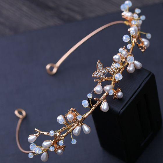 Eenvoudige Goud Huwelijk Haaraccessoires 2018 Metaal Parel Rhinestone Kristal Accessoires