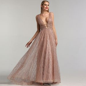 Sexy Rose Gold Red Carpet Evening Dresses  2020 A-Line / Princess Deep V-Neck Sleeveless Beading Glitter Organza Sweep Train Ruffle Backless Formal Dresses
