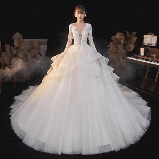 Fashion Elegant White Lace Flower Cascading Ruffles Wedding Dresses 2021 A-Line / Princess Deep V-Neck Bow 3/4 Sleeve Backless Royal Train Wedding