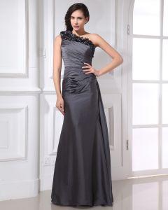 Elegant Sloping Floor Length Flowers Pleated Taffeta Women Formal Evening Dress