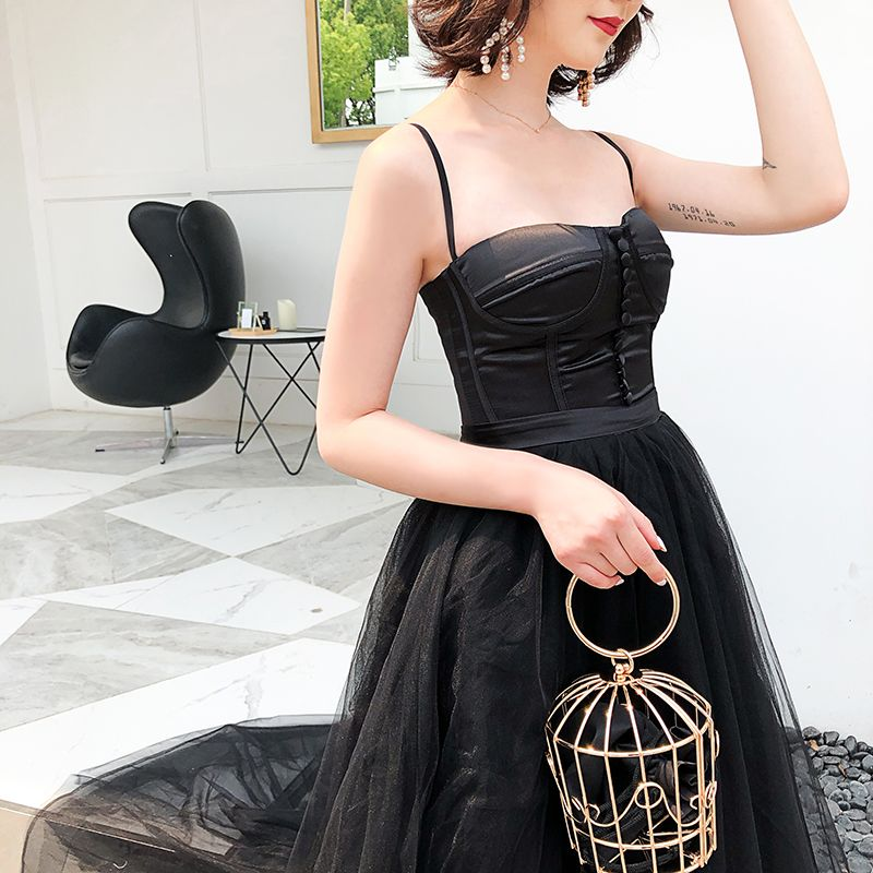 Modest / Simple Black Evening Dresses  2018 Empire Spaghetti Straps Sleeveless Sash Sweep Train Ruffle Backless Formal Dresses