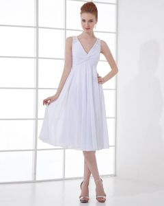 Fashion Chiffon Pleated Beaded V Neck Tea Length Graduation Dress