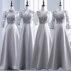 Modest / Simple Grey Pierced Bridesmaid Dresses 2018 A-Line / Princess Appliques Lace Sash Floor-Length / Long Backless Wedding Party Dresses