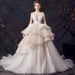 Chic / Beautiful Champagne See-through Wedding Dresses 2019 Ball Gown Deep V-Neck Sleeveless Backless Glitter Tulle Beading Court Train Cascading Ruffles