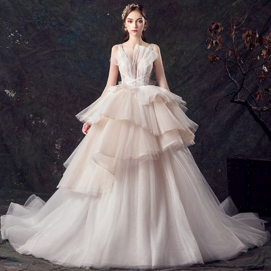 387e37b15a3 Chic   Beautiful Champagne See-through Wedding Dresses 2019 Ball Gown Deep V -Neck Sleeveless Backless Glitter ...