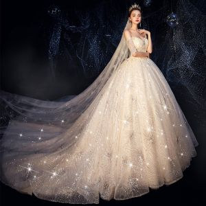 Bling Bling Champagne Wedding Dresses 2019 Ball Gown Off-The-Shoulder Short Sleeve Backless Glitter Sequins Cathedral Train Ruffle