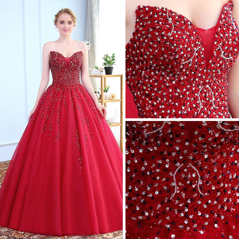 Chic / Beautiful Burgundy Prom Dresses 2018 Ball Gown Crystal Sequins Beading Sweetheart Backless Sleeveless Floor-Length / Long Formal Dresses