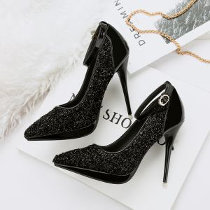 Sparkly Black 2018 High Heels 11 cm Ankle Strap Beading Glitter Sequins Pointed Toe Evening Party Prom Stiletto Heels Womens Shoes