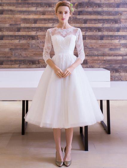 Elegante Bruidsjurken.Elegante Bruidsjurken 2016 A Lijn Scoop Kant Hals Applique Kant