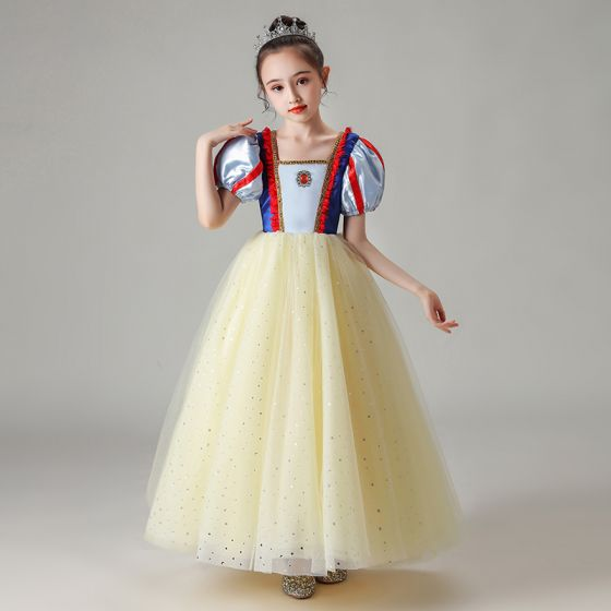 Snow white Yellow Birthday Flower Girl Dresses 2020 Ball Gown Square Neckline Puffy Short Sleeve Sequins Tulle Floor-Length / Long Ruffle