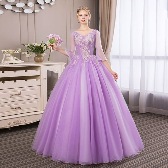 Affordable Lilac Prom Dresses 2018 Ball Gown Lace Flower Pearl Rhinestone V-Neck Backless 3/4 Sleeve Floor-Length / Long Formal Dresses