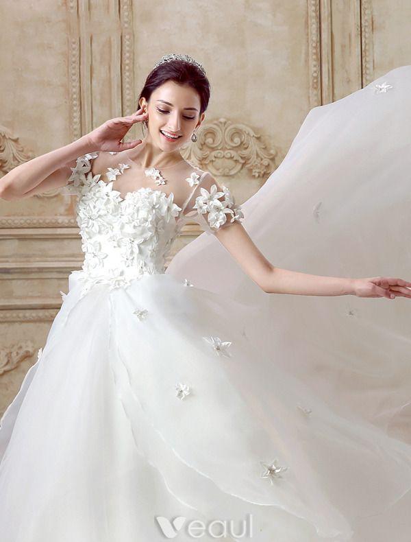 Eleganten Brautkleider Günstig 2016 Kurzen Ärmeln Rückenfrei Hochzeitskleider Handgefertigten Blumen
