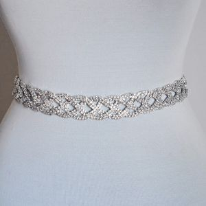 Sparkly Flot Ivory Bryllup Skærf  2020 Metal Satin Beading Rhinestone Bryllups Selskabs Galla Accessories