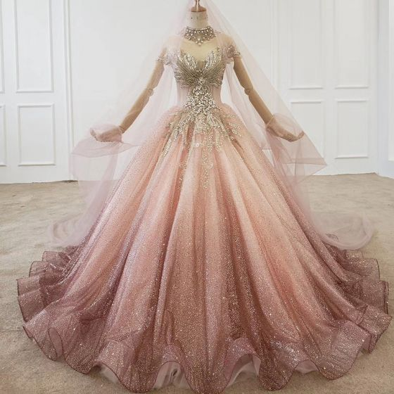 Stunning Bling Bling Pearl Pink Gradient-Color Ball Gown Wedding Dresses 2020 Scoop Neck Short Sleeve Backless Beading Crystal Rhinestone Sweep Train Prom Wedding