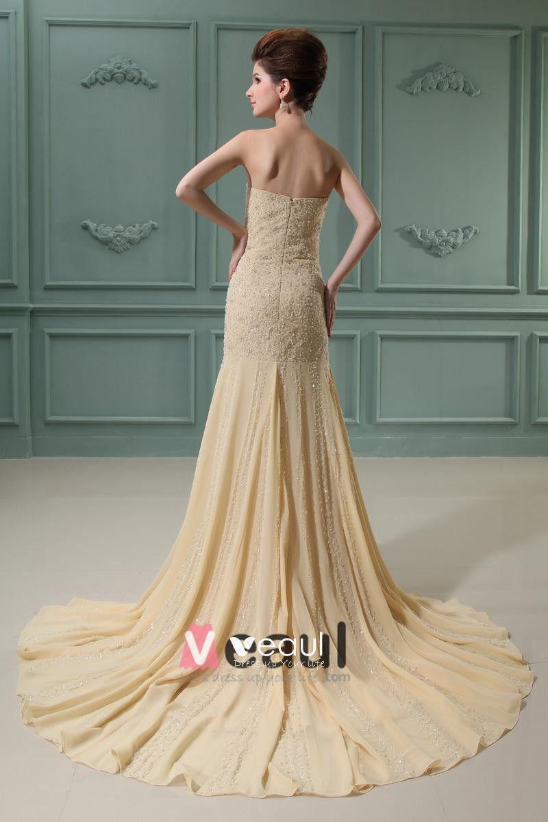 Strapless Sleeveless Zipper Floor Length Chiffon Woman Mermaid Wedding Dress