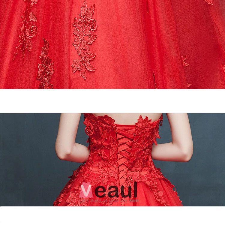 2015 Winter Red Brautkleinschleppendes Brautkleider