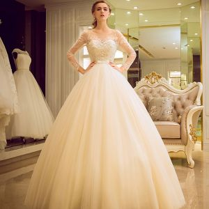 Chic / Beautiful Champagne Pierced Wedding Dresses 2017 Ball Gown Scoop Neck Long Sleeve Backless Appliques Flower Beading Bow Sash Floor-Length / Long