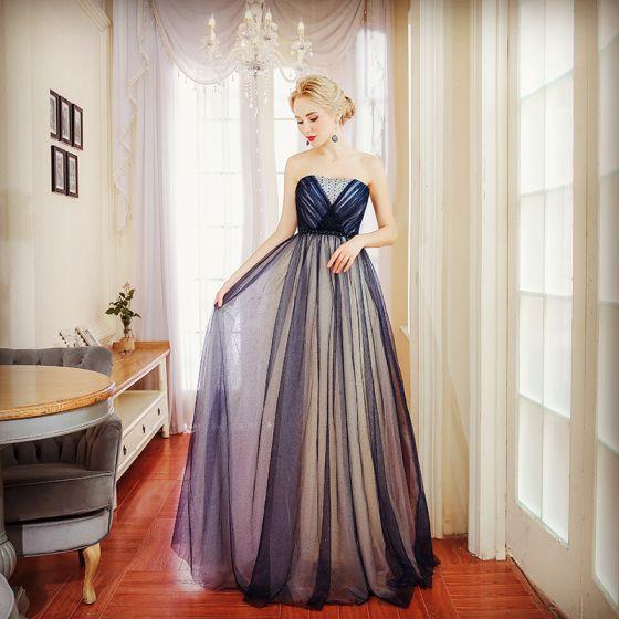 Elegant Navy Blue Evening Dresses  2017 A-Line / Princess Pearl Rhinestone Sweetheart Backless Sleeveless Floor-Length / Long Formal Dresses