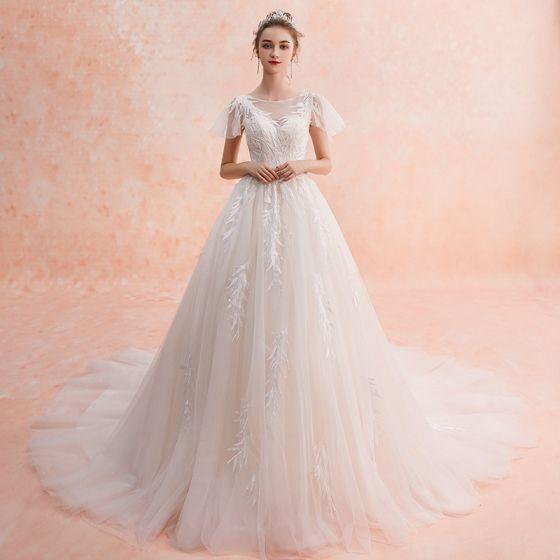 b86415310c Hermoso Marfil Organza Transparentes Vestidos De Novia 2019 A-Line   Princess  Escote Cuadrado Manga Corta Sin Espalda Apliques Con ...
