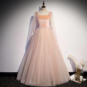 Vintage / Originale Perle Rose Dansant Robe De Bal 2020 Princesse Encolure Carrée Manches Longues Perlage Glitter Tulle Longue Volants Dos Nu Robe De Ceremonie