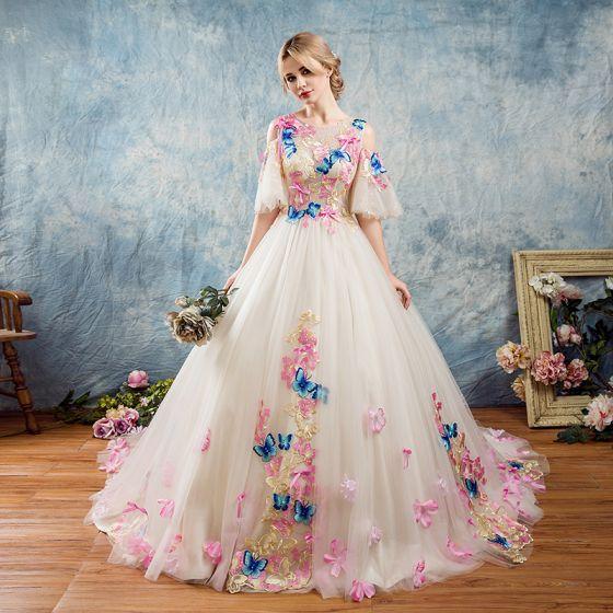 Najpiękniejsze / Ekskluzywne Ogród / Outdoor Suknie Ślubne 2017 Białe Suknia Balowa Trenem Kaplica 1/2 Rękawy Wycięciem Bez Pleców Z Koronki Aplikacje