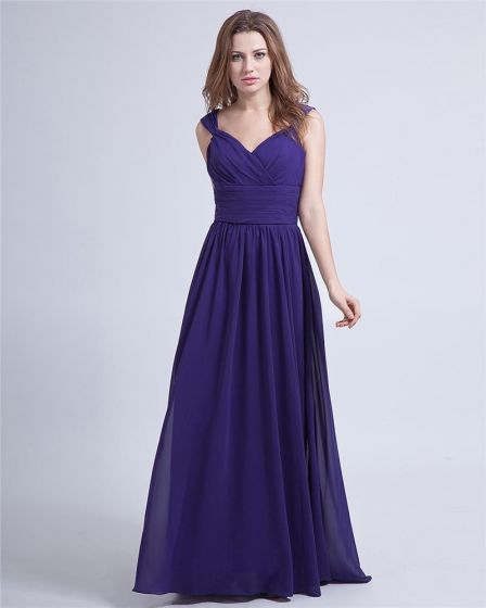 Chiffon Ruffle V Neck Floor Length Evening Party Dresses