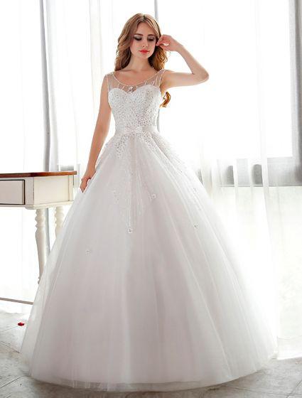 499ae25fbfe Sparkly Hvit Brudekjoler Ball Kjole Blomst Brude Kjole Med Rhinestone Og  Paljetter