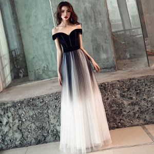 Elegant Gradient-Color Black Prom Dresses 2019 A-Line / Princess Off-The-Shoulder Short Sleeve Backless Floor-Length / Long Formal Dresses