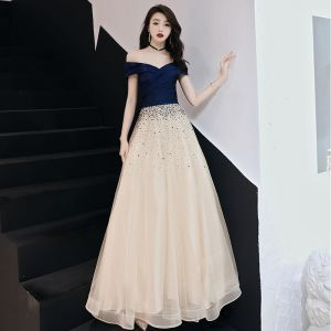 Chic / Beautiful Navy Blue Evening Dresses  2019 A-Line / Princess Off-The-Shoulder Star Sequins Short Sleeve Backless Floor-Length / Long Formal Dresses