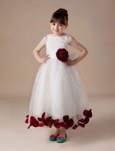 Ärmellose Schärpe Satin Blumen Tüll Blumenmädchen Kleid Kommunionkleider