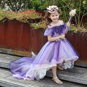 Chic / Belle Église Robe Pour Mariage 2017 Robe Ceremonie Fille Violet Robe Boule Asymétrique De l'épaule Manches Courtes Dos Nu Fleurs Artificielles Cristal Perle