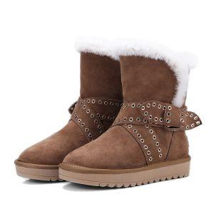 Stylowe / Modne Snow Boots 2017 Brązowy Skórzany Botki Zamszowe Kokarda Przypadkowy Zima Płaskie Buty Damskie