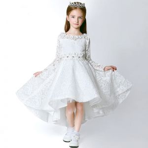 Chic / Beautiful Church Wedding Party Dresses 2017 Flower Girl Dresses White Asymmetrical A-Line / Princess Backless Heart-shaped Scoop Neck Long Sleeve Lace Appliques Flower Rhinestone