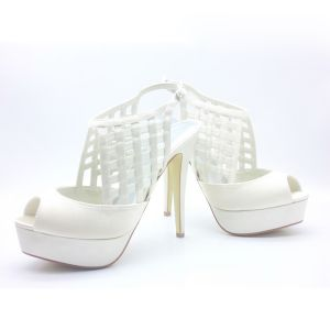 Fashion Reticular Bridal Shoes Satin Stilettos Platform Slingbacks Sandals